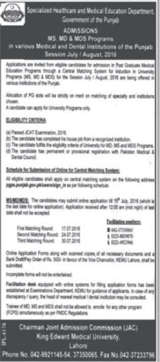 MS MD Postgraduate Medical Program Eligibility Criteria KEMU Punjab Lahore