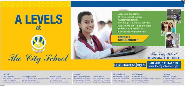 A Levels Admission At The City School Generous Scholarships