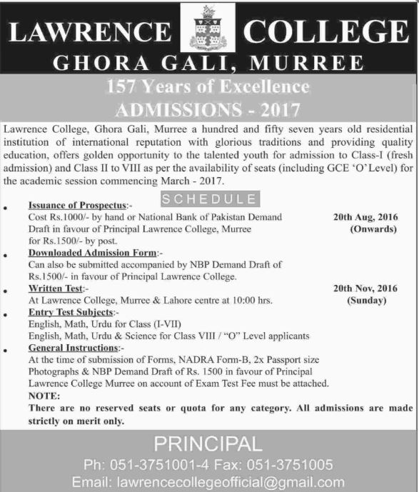 Lawrence College Ghora Gali Murree Admission Schedule 2016 17