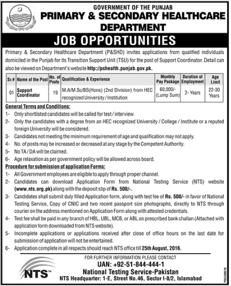 Punjab Govt Primary and Secondaery HealthCare Department Job Opportunities