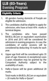 LLB 3 Years Program In Pakistan 2017 Eligibility Criteria In Lahore Pakistan Courses