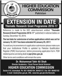 HEC Thematic Research Grant Programme 2017 Submit Proposal