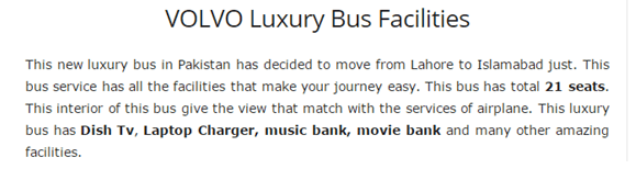Volvo Luxury Bus Filled With Facilities