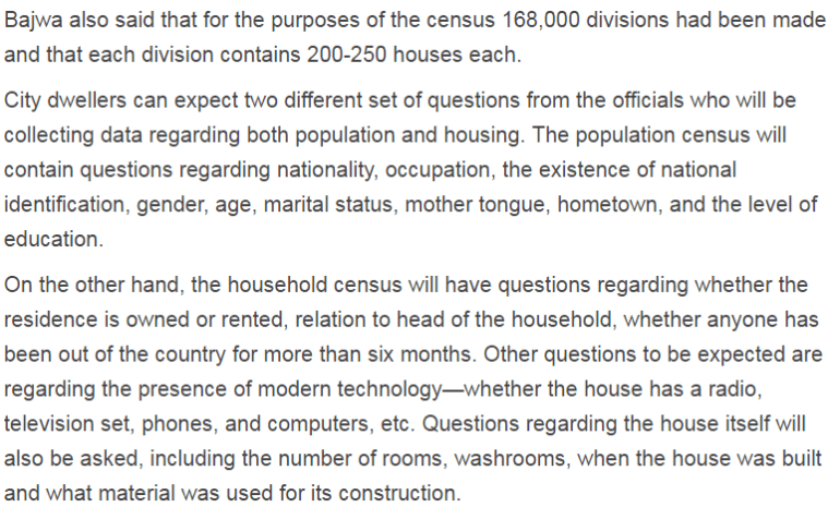 Pakistan Population And Housing Census Questions