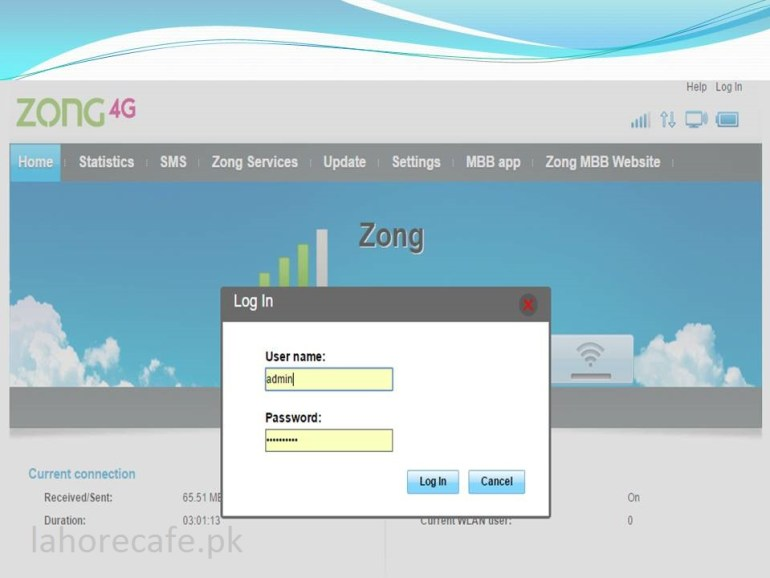 how to check remaining mbs in zong 4g device Step 2