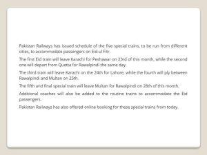 Pakistan Railway Eid Special Train Schedule 2017 Discount, Package