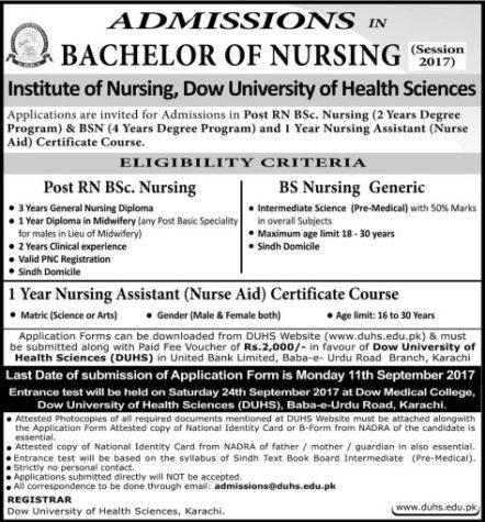 DOW University Institute of Nursing Admission 2017