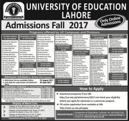 BBA Admission 2017 In University of Education Township Campus Lahore Apply Online, Merit List