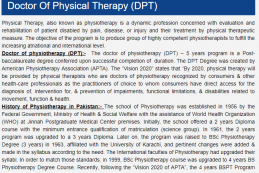 Doctor of Physical Therapy Admission In Lahore 2017 Scope, Courses