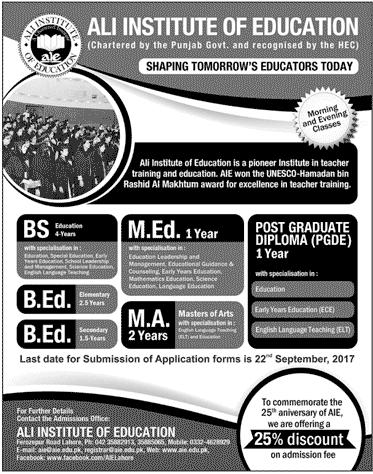 Ali Institute Of Education Lahore Short Courses 2017 Advertisement