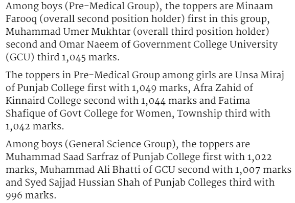 Lahore board inter toppers names Pre medical and general science group 2017