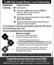 How To Apply For PEEF Scholarship Punjab Endowment Fund 2017 Masters Students Last Date