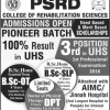 PSRD Admissions College Of Rehabilitation Sciences DPT Admission 2018 Fee Structure