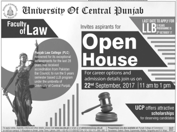 UCP LLB Admission 2017 5 Year University Of Central Punjab Fee Structure, Prospectus Price