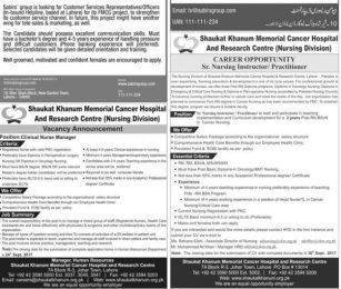 Nursing Jobs In Shaukat Khanum Hospital Lahore 2017 Senior Nursing Instructor Practitioner