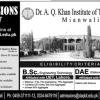 Dr A Q Khan Institute Of Technology Mianwali Admission Application 2017 Form Fee Structure