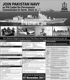Join Pakistan Navy As PN Cadet for Permanent Commission 2018-A Apply Online
