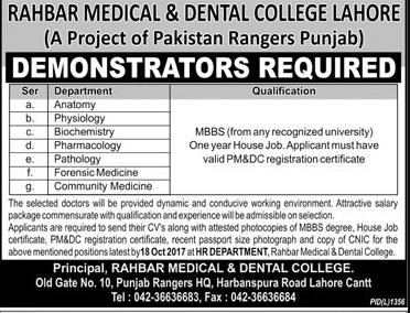 Medical Demonstrator Jobs 2017 Advertisement