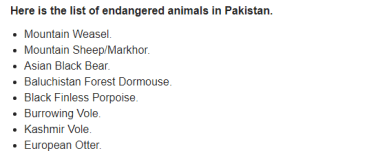 List Of Endangered Animals In Pakistan