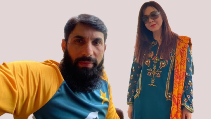 Misbah-ul-Haq with his wife