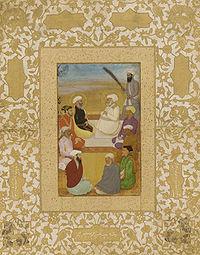 Miniature depicting Hazrat Mian Mir and his disciple, Mullah Shah, in conversation with Prince Dara Shikoh.