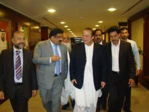 Dubai 10 March 2013 Former Prime Minister & PML-N Preident Muhammad Nawaz Sharif coming out from Dubai Airport