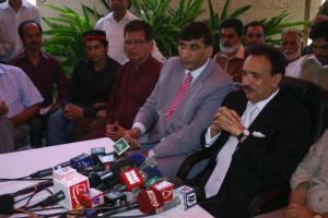 Rehman Malik talking to media in Lahore