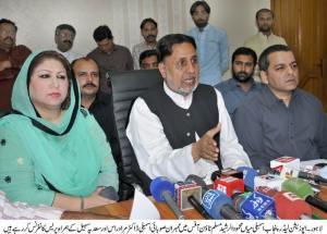 Mian Mehmood ul Rasheed is addressing press conference along with MPA Dr Murad Ras and Saadia Sohail Rana