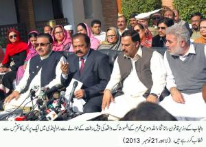 Minister Law is addressing a press conference in Rawalpindi