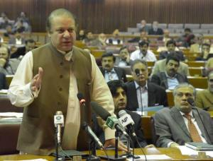 Islamabad  26th February, 2014 Prime Minister Muhammad Nawaz Sharif  addresing in national assembaly