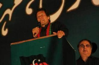 Imran Khan addressing  a large gathering at Dchoke Islamabad