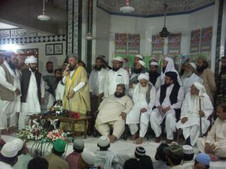 Molana Sami ul Haq is addressing party workers here Samanabad,Lahore