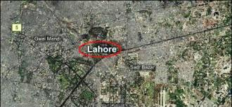 Lahore map  mark defence area