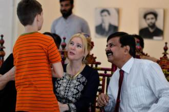 Executive Director Lahore Arts Council Captain (r) Atta Muhammad Khan with the ambassador of Paraguay Mr Gustavo Miranda with his wife Karina during the visit of alhamra