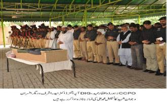 Martyrs cops funeral prayer is offered at police line