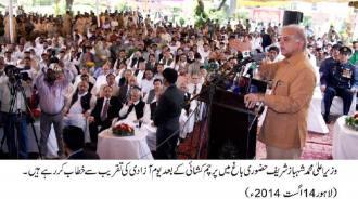 Shahbaz Sharif is addresssing at flag hoisting ceremont at Hazoori Bagh