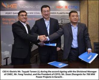 K-Electric Signs Accord with China's CMEC for 700 MW  Power Projects