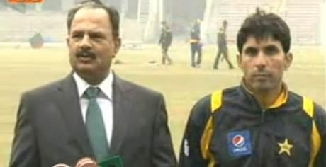 Manager pak team Naveed Akram Cheema is talking to media