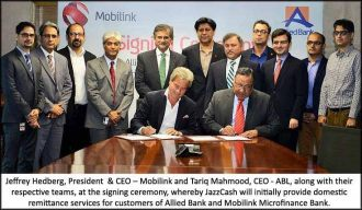 Allied Bank and Mobilink announces a partnership to promote financial inclusion