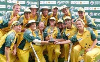 Members of the Australian team hold thei