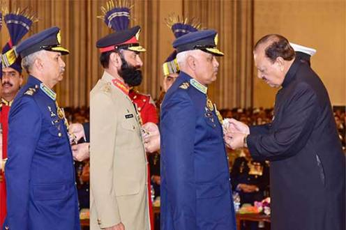 President Mamnoon Hussain confers Civil & Military Awards on Pakistan Day