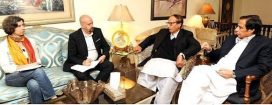 European Union delegation calls on Ch Shujaat Hussain