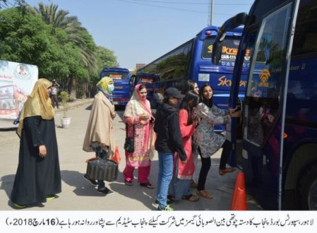 Sports Board's 325-member contingent departed for Peshawar
