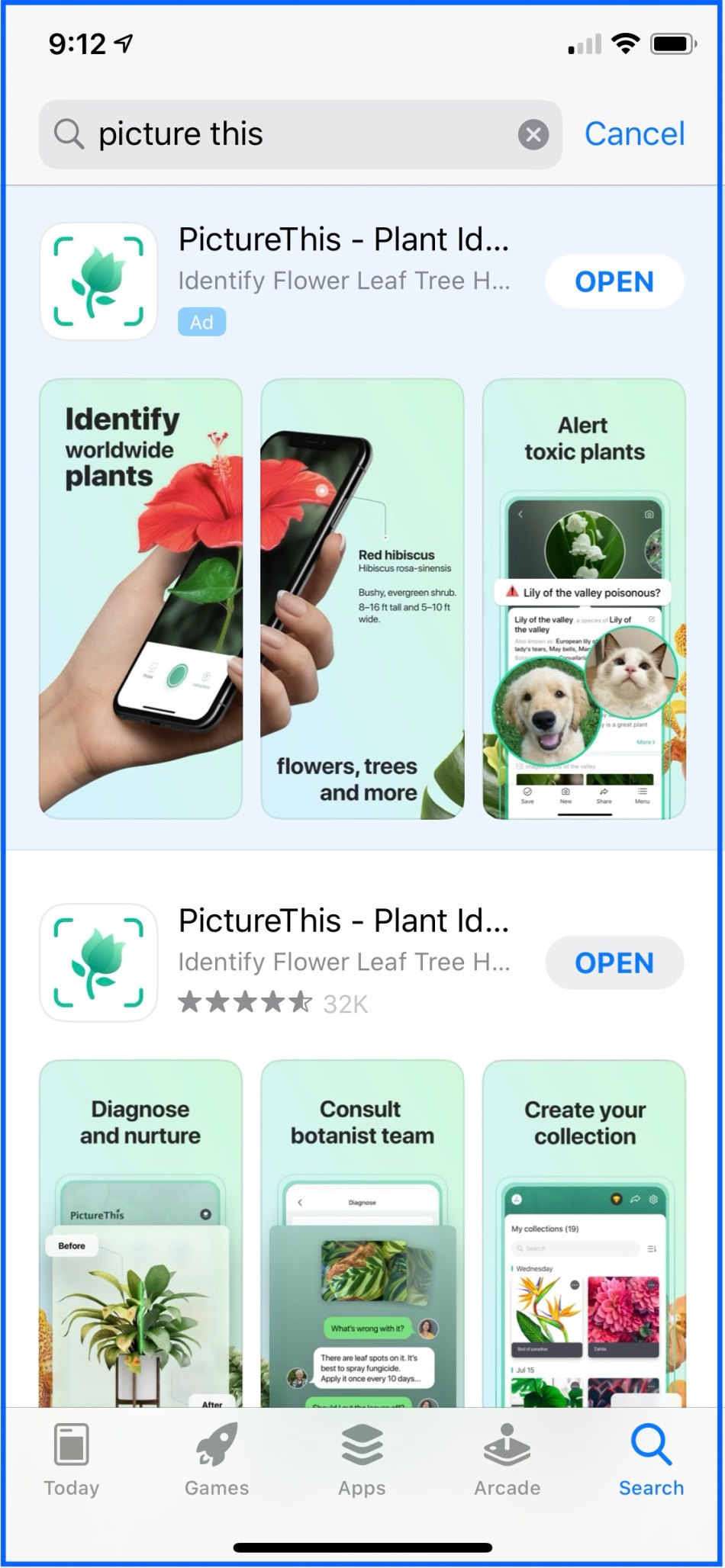 PictureThis ad as it appears in the App Store