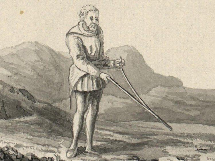 B&W illustration of many dowsing.
