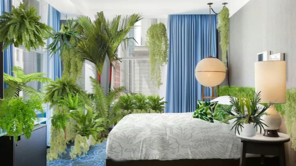 Bedroom full of plants.