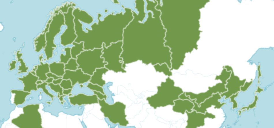 Map of the distribution of sweet woodruff across Europe and Asia.