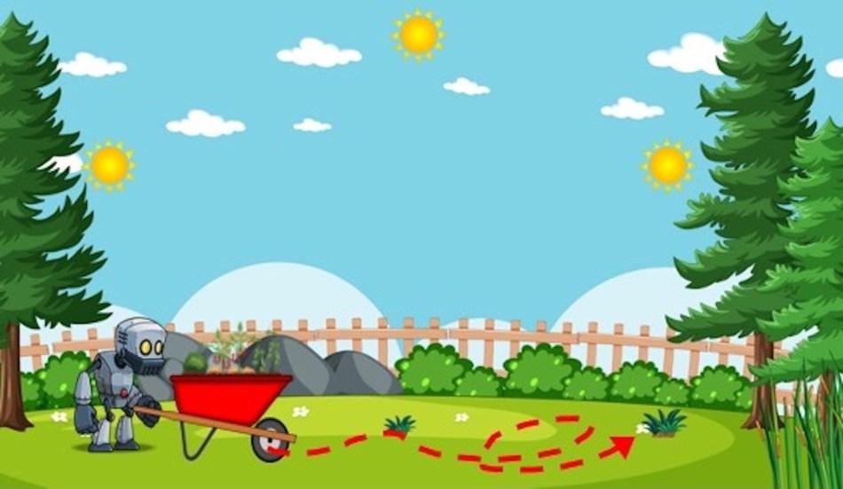 Robot pushing wheelbarrow garden over landscape, dotted line show path. 3 suns show movement.