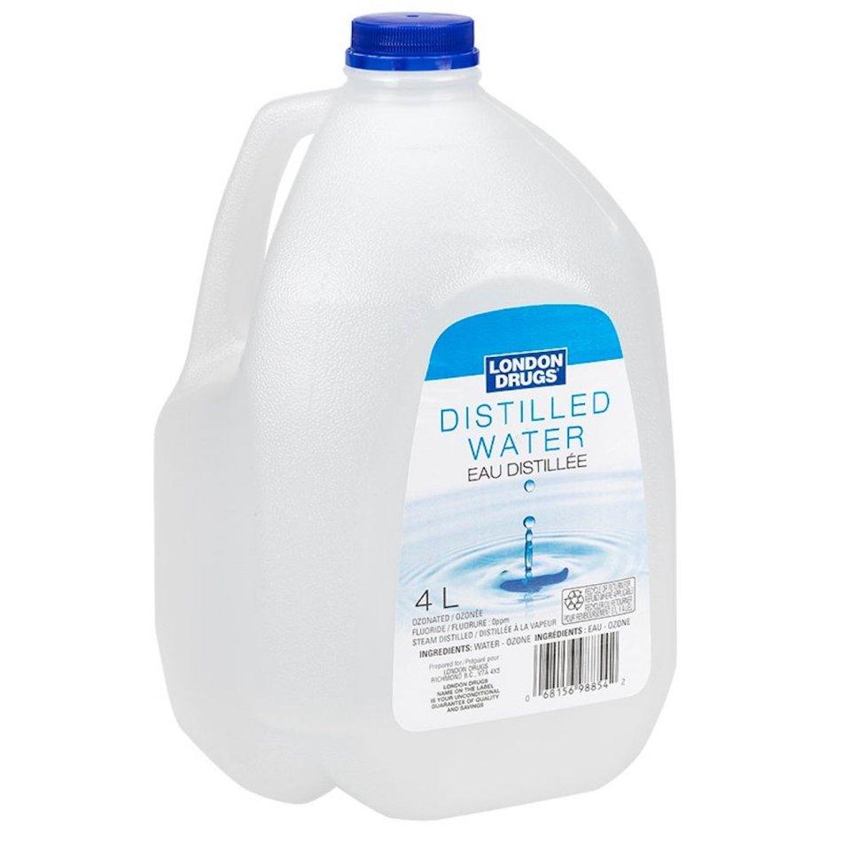 Bottle of distilled water.