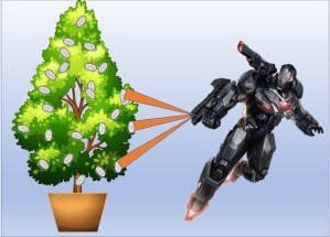 Robot warrior destroying mealybugs with death ray.